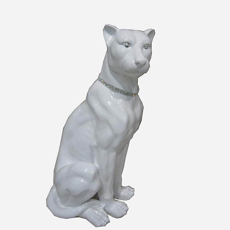 Статуэтки Статуэтка Decor Леопард сидящий белый 86517W statuetka-decor-leopard-sidyaschiy-belyy-86517w-kitay.JPG