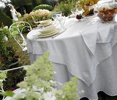 Скатерть 170х300 и комплект салфеток Blanc des Vosges Ombelle белая