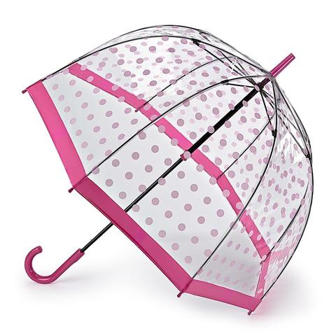 Fulton Pink Polka Dot прозрачный зонт-трость