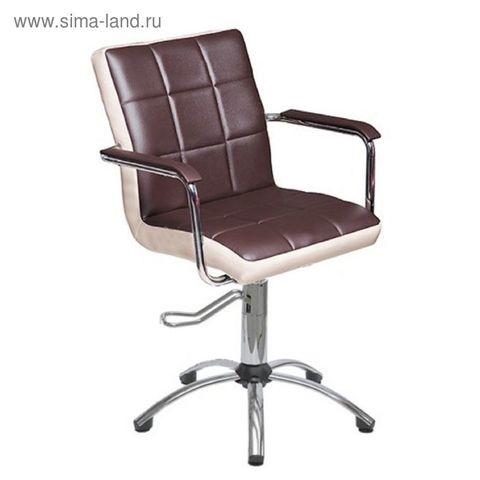Кресло Лего коричневое-слоновая кость гидр хром пятилучье