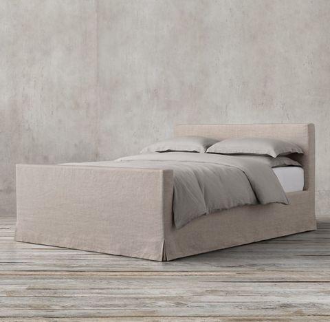 Parsons Slipcovered Bed with Footboard