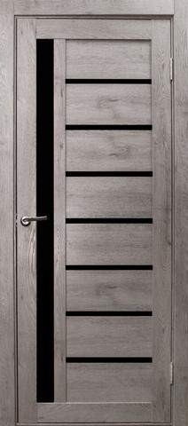 Дверь Эколайт Дорс Вертикаль, стекло чёрное лакобель, цвет дуб дымчатый, остекленная