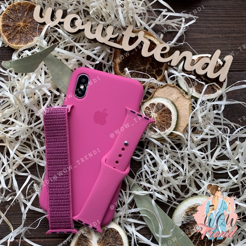 Чехол iPhone XS Max Silicone Case /dragon fruit/ тёмная фуксия original quality
