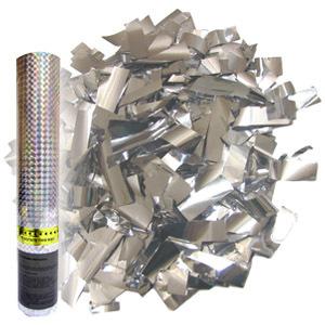 Пневмохлопушка в пластиковой тубе Серебряное конфетти 30см