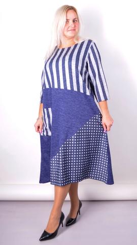 Коллаж. Комбинированное платье size plus. Синий.