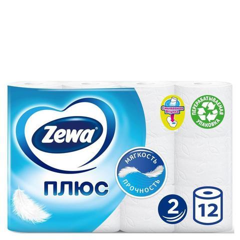 Бумага туалетная Zewa-Plus 2сл бел втор втул 23м 184л 12рул/уп 144090