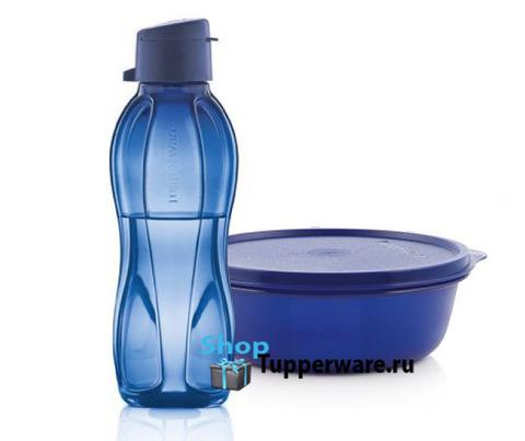 хит парад 600мл и бутылка эко 500мл с клапаном в темно-синем цвете
