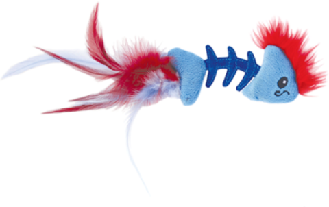 PETSTAGES PLAY FISH BONE BLUE