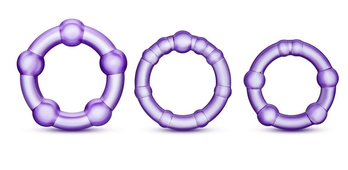 Эрекционные кольца: Набор из 3 фиолетовых эрекционных колец Stay Hard Beaded Cockrings