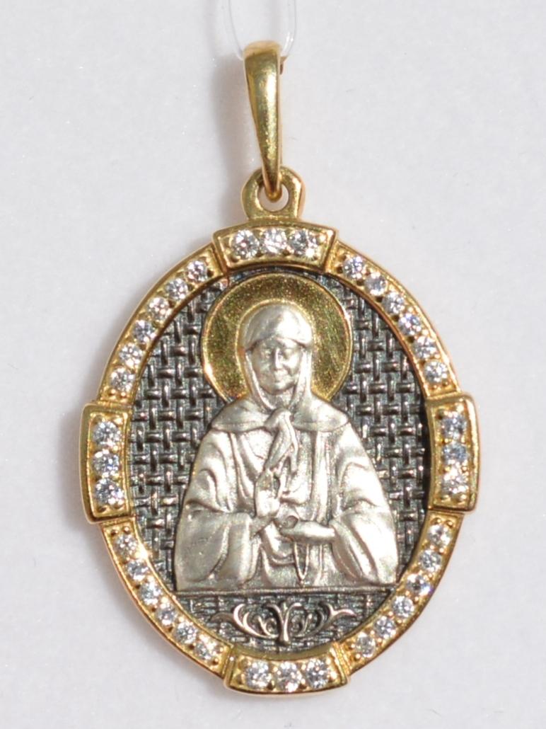 Святая Матрона (кулон из серебра с позолотой)