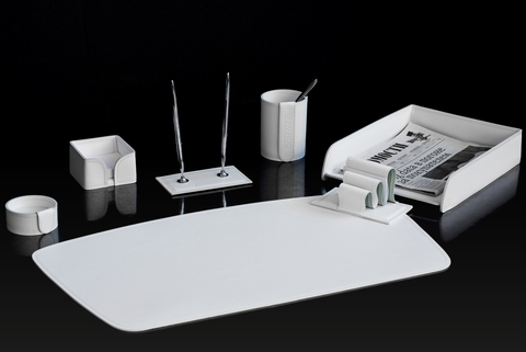 Настольный набор BUVARDO 7 предметов, кожна натуральная, цвет белый №16