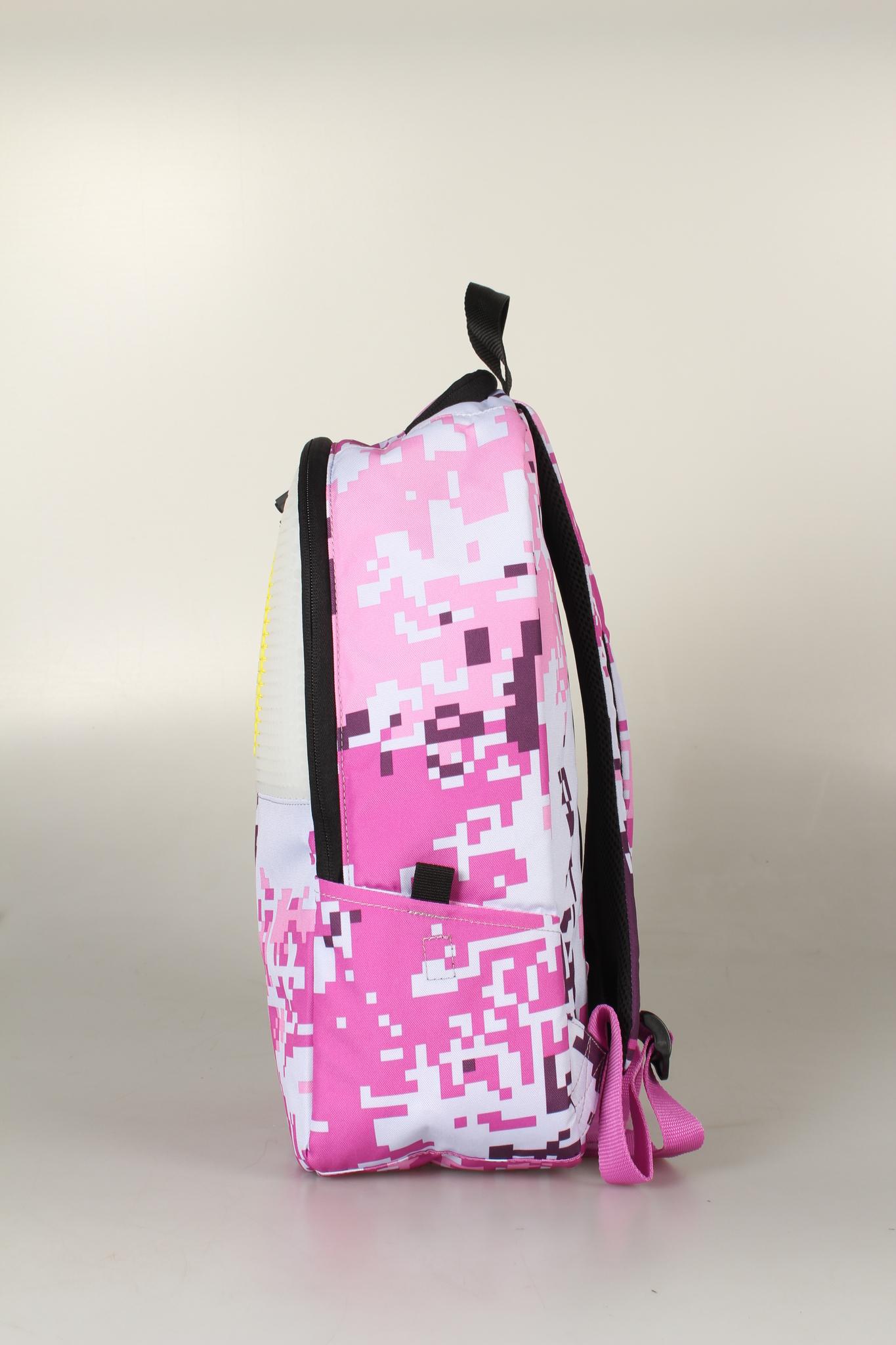 Школьный пиксельный рюкзак Camouflage розовый вид сбоку