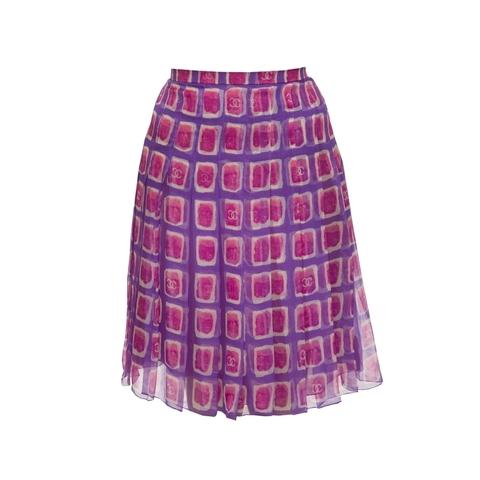 Женственная легкая юбка из шифона сиренево-розовых оттенков от Chanel, 36 размера.