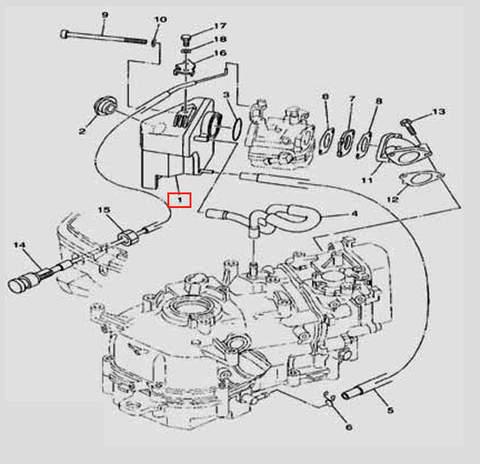 Глушитель в сборе  для лодочного мотора F5 Sea-PRO(6-1)