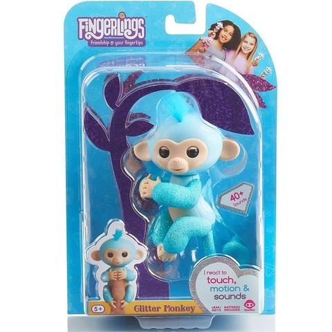 Фингерлингс блестящая Обезьянка Амелия бирюзово-синяя