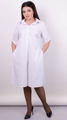 Пальмира. Стильное платье-рубашка plus size. Белый.