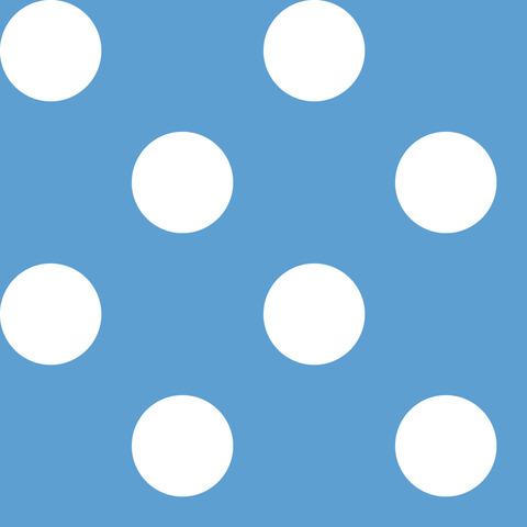 Креп сатин голубой в белый горох 2,5 см