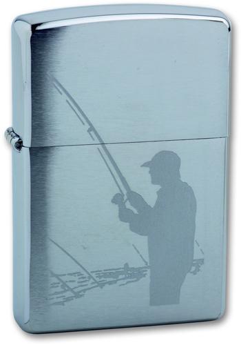 Зажигалка ZIPPO Classic Brushed Chrome™ с изображение рыбака с добычей ZP-200 Fisherman