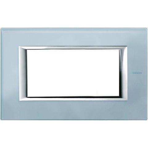 Рамка 1 пост, прямоугольная форма. СТЕКЛО. Цвет Голубое стекло. Итальянский стандарт, 4 модуля. Bticino AXOLUTE. HA4804VZS