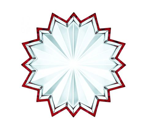Crystal Christmas Biscuit Plate Star  Red
