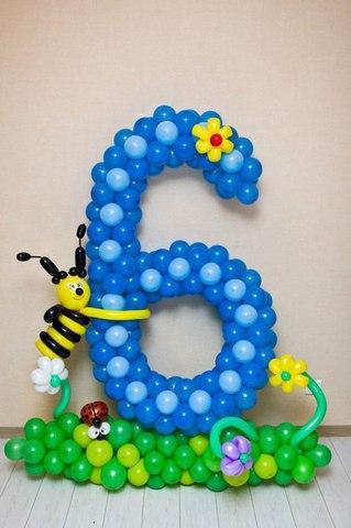 Цифра 6 из воздушных шаров
