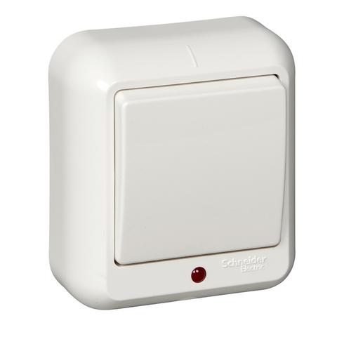 Выключатель одноклавишный с подсветкой и пластиковой пластиной 10 А 250 В в розничной упак. Цвет Белый. Schneider Electric(Шнайдер электрик). Prima(Прима). VA1U-111I-BI