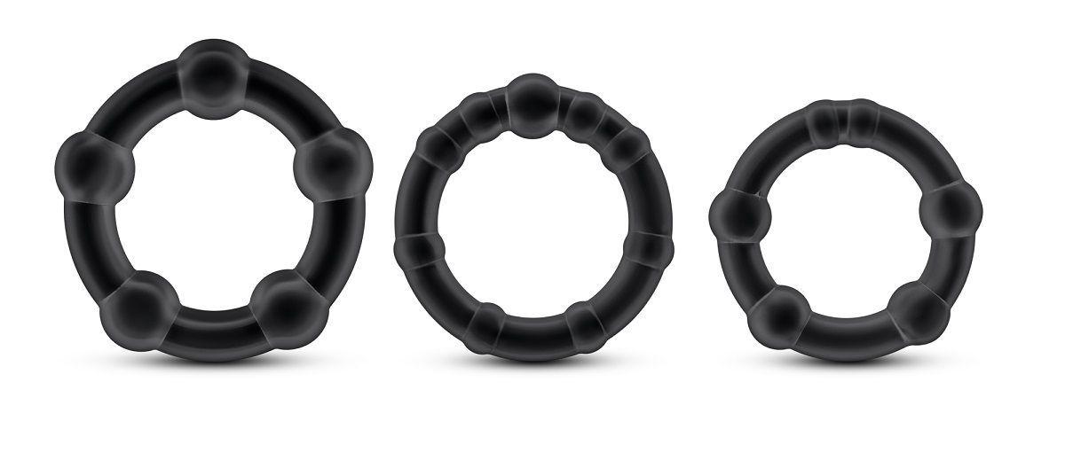 Эрекционные кольца: Набор из 3 чёрных эрекционных колец Stay Hard Beaded Cockrings