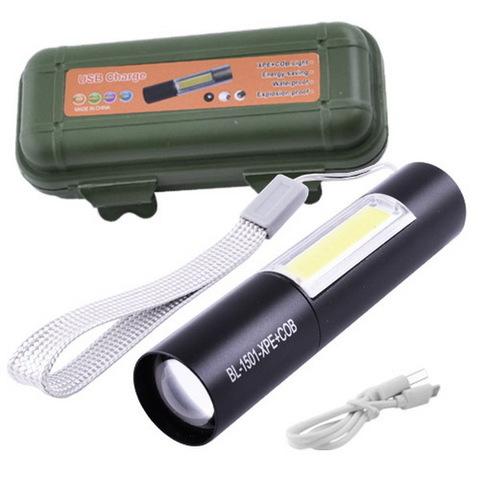 Ф.ручной Police 1501-XPE+COB, zoom, встроенный аккум., ЗУ USB