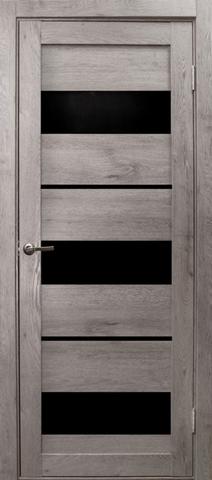 Дверь Эколайт Дорс Параллель, стекло чёрное лакобель, цвет дуб дымчатый, остекленная