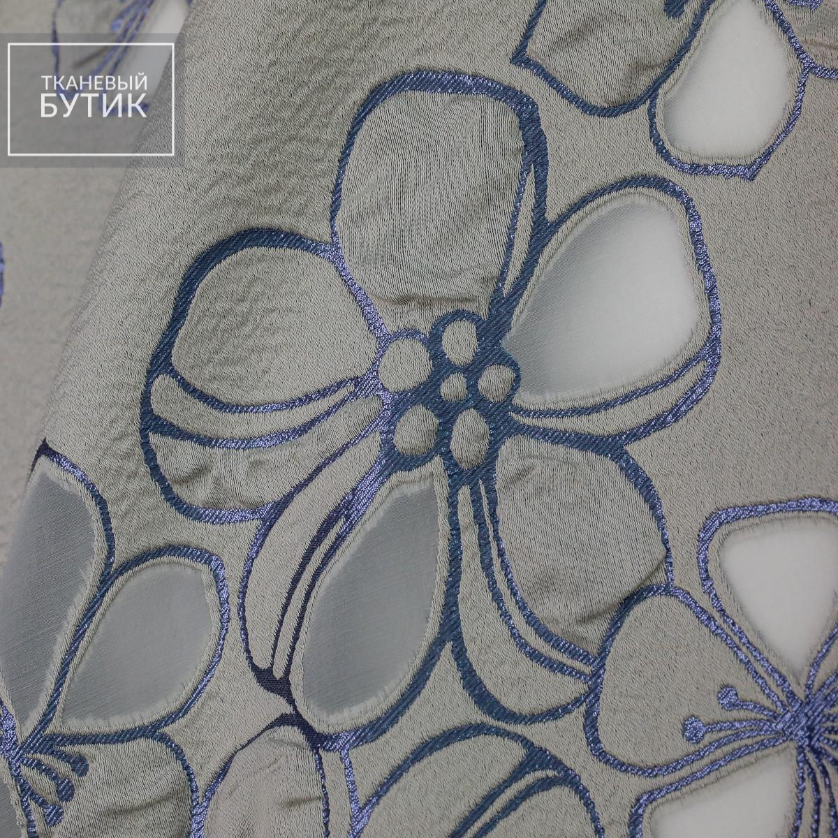 Перламутрово-серый жаккард с крупными цветами