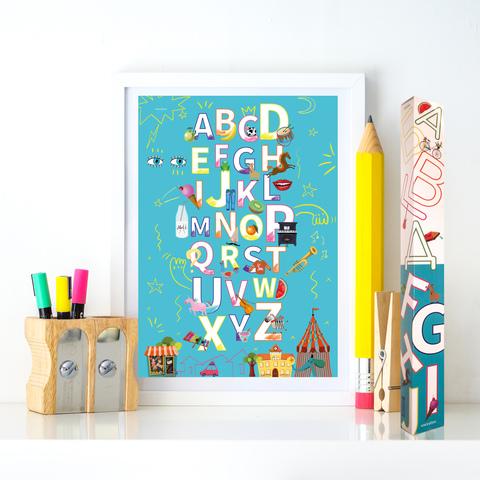 Набор из 2-х плакатов «Алфавит» Белый + Бирюза