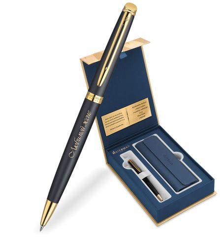 Набор с гравировкой: Чехол и Шариковая ручка Waterman Hemisphere, цвет: MatteBlack GT