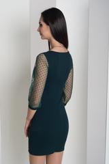 Мадлен. Оригинальное платье  с гипюровыми рукавами. Изумруд