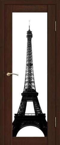 Дверь La Stella 212, интерьерная печать, цвет дуб мокко, остекленная