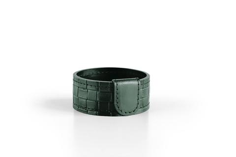 Стакан канцелярский Н4  из кожи цвет treccia/зеленый