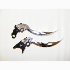 Короткие рычаги тормоза/сцепления в форме ножей для мотоциклов Moto Guzzi Серебрянный