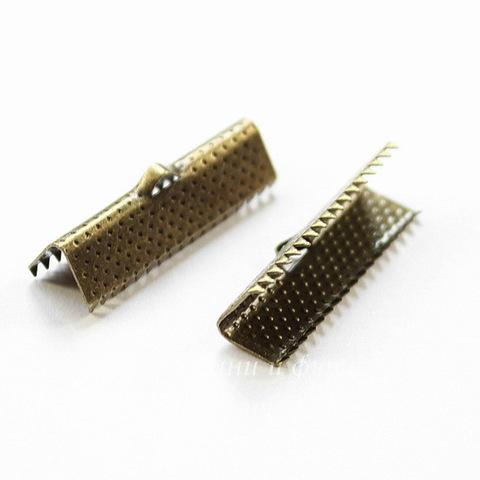Концевик для лент 25 мм (цвет - античная бронза), 10 штук