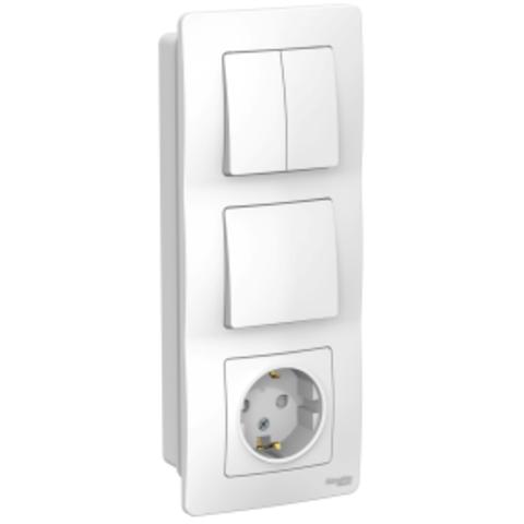 Блок: Розетка з/к шт 16А, 250В + Выключатель 1-кл. + Выключатель 2-кл. Цвет Белый. Schneider Electric Blanca. BLNBS101201