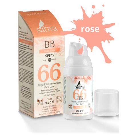 Sativa Крем ухаживающий солнцезащитный с тонирующим эффектом №66 Rose Beige, 30мл