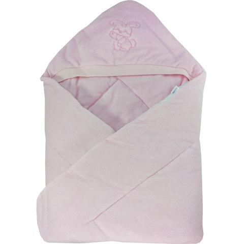 Папитто. Конверт-одеяло велюр с вышивкой, розовый