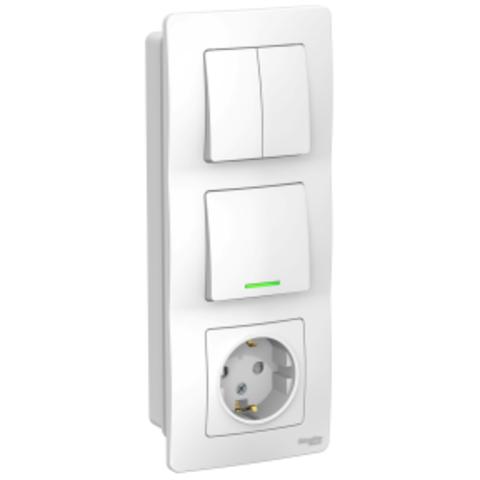 Блок: Розетка з/к шт 16А, 250В + Выключатель 1-кл. с подсветкой + Выключатель 2-кл. Цвет Белый. Schneider Electric Blanca. BLNBS101211