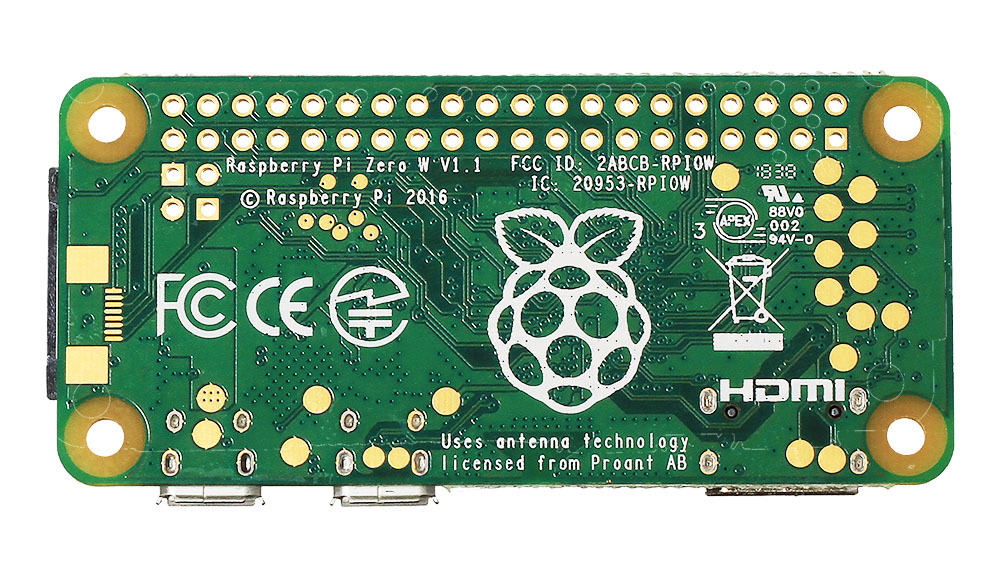 Raspberry Pi Zero W (вид снизу)