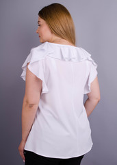 Руна. Легкая офисная блуза плюс сайз. Белый.