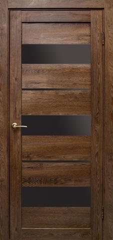 Дверь Эколайт Дорс Параллель, стекло чёрное лакобель, цвет дуб шоколадный, остекленная