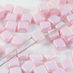 Бусина Tile mini Квадратная плоская с 2 отверстиями, 5 мм, перламутрово-нежно-розовая