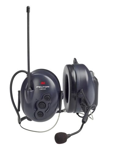 Активные наушники LiteCom Plus PMR, микрофон на жёсткой штанге, затылочное оголовье, тёмно-синие чашки