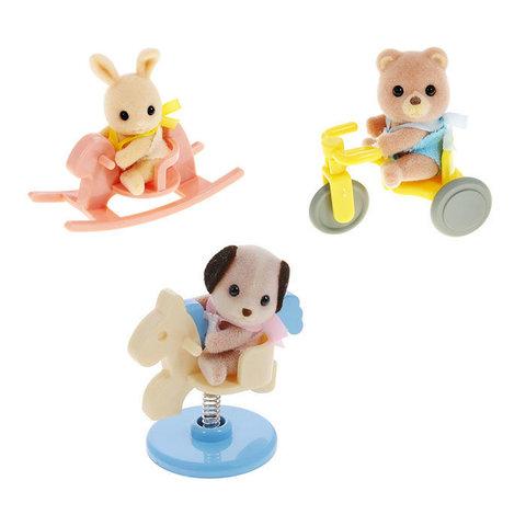 Игрушка младенец в пл.. коробке(медвеж.на велосипеде, собач. на качелях-лошадке, крольч. на качалке)Sylvanian families 3340