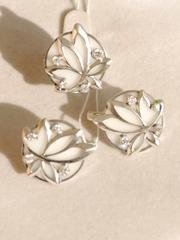 Лилия (кольцо + серьги из серебра)