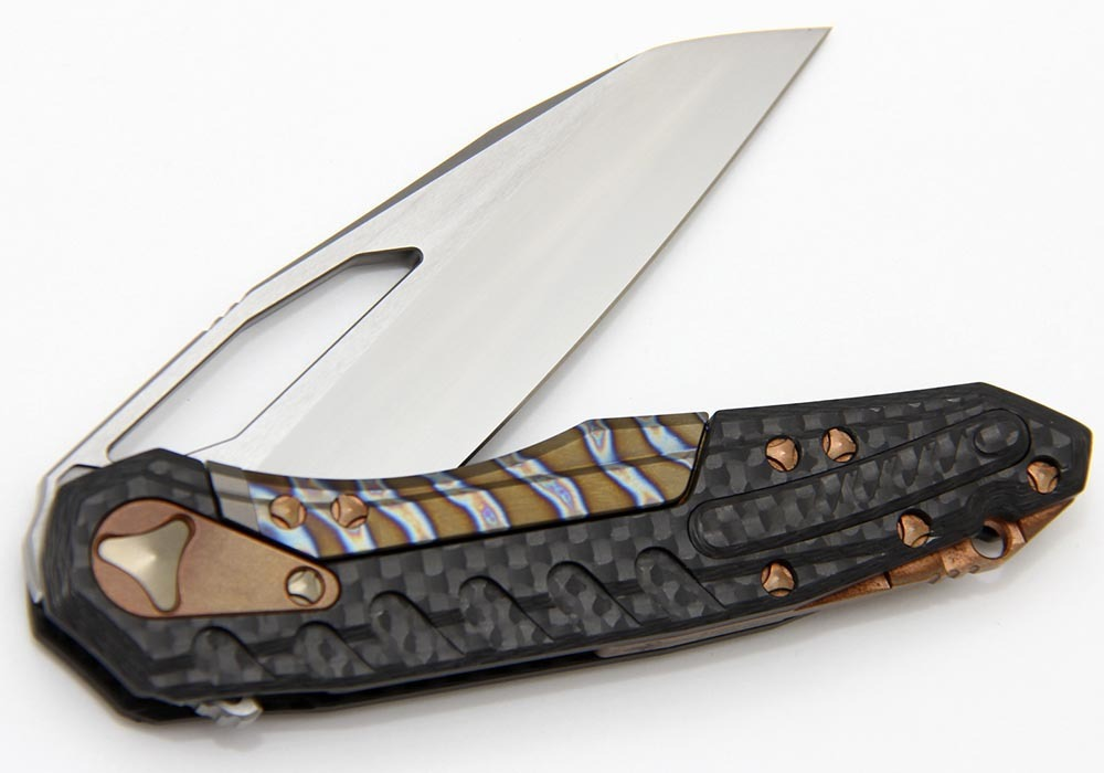 Нож Custom Microtech Sigil satin cowry-Y/Carbon Fiber/Copper Hardware