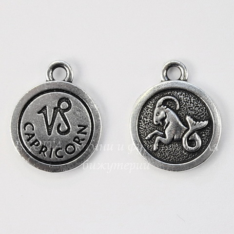 "Подвеска TierraCast знак зодиака ""Козерог"" (цвет-античное серебро) 19х15 мм"